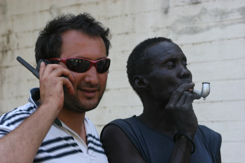 Karim Chrobog on the phone in Sudan