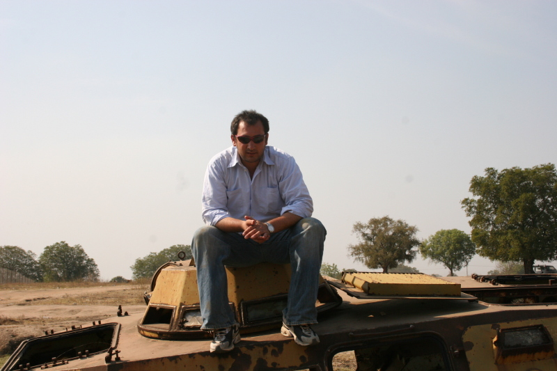 Karim Chrobog on tank in Sudan